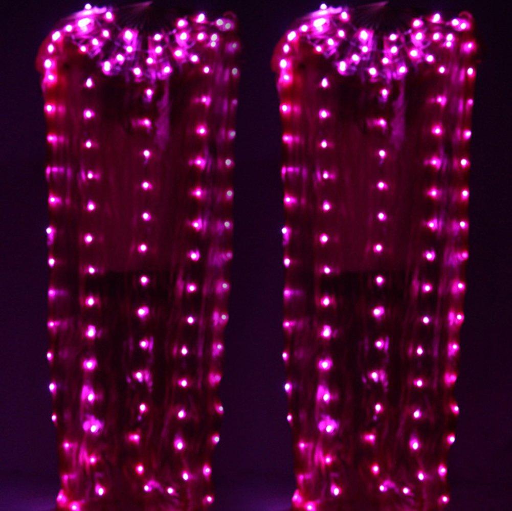 Byjia Puntelli Della Fase Del Partito Della Luce Del Ventre Del Ventaglio Di Seta Del Fan Del LED LED Per L'adulto 1.65 M,rosa,2Pcs