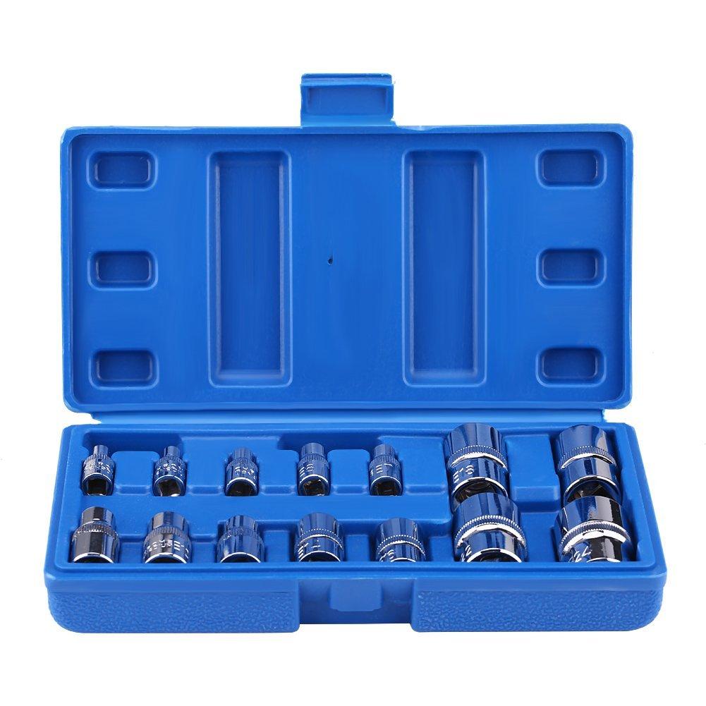 Torx Bit Socket Set, 14 Pcs E-Type Torx Bit Set Professional Star Bit Socket Set Kit Tool for Automobile Repair and Maintenance E4-E24 1/4' 3/8' 1/2' Cocoarm