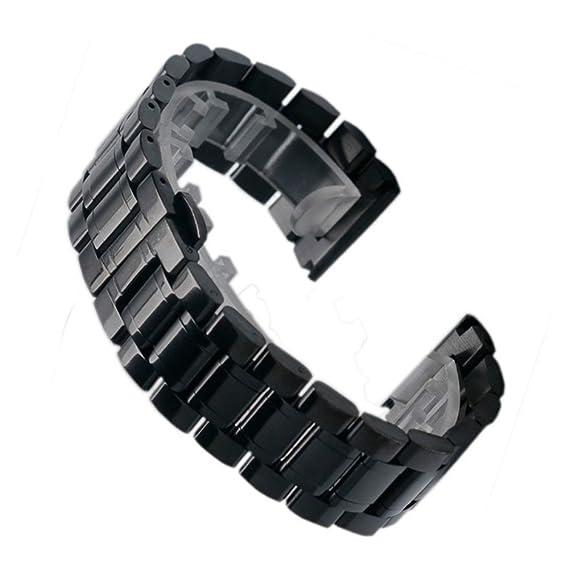 YISUYA 18 mm sólido para hombre acero inoxidable de la Alianza 1,8 cm, ancho reloj con push-botón oculta pulsera broche desplegable de regalos para relojes: ...