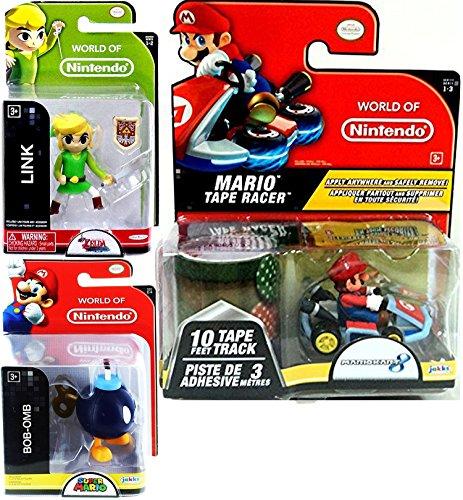 Zelda Figure + Mariokart Video Game Car Mario with Mushroom Tape Racer & World of Nintendo Link with Sword Legend Wind Waker + Bob-Omb Super Mario Bundle Set