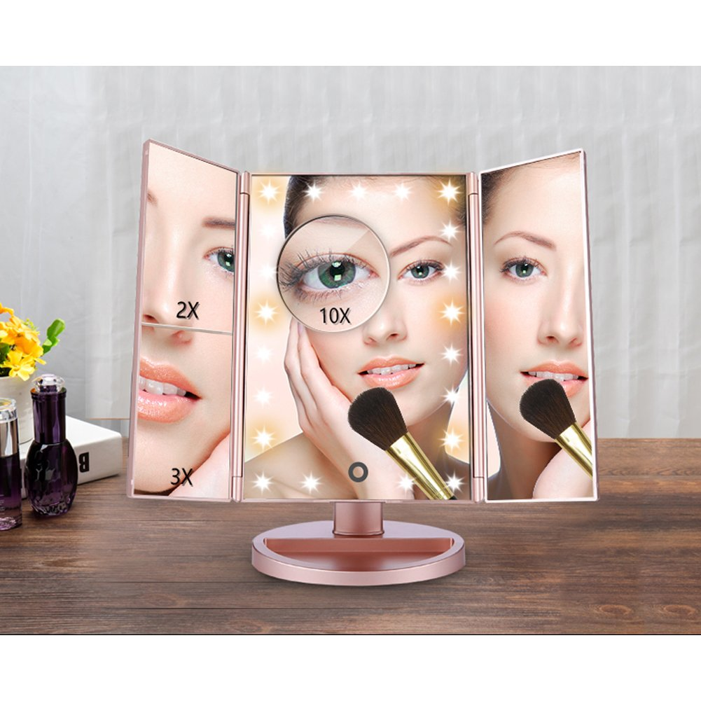 RioRand Lighted Vanity Mirror Rose Gold LED Trifold Makeup Mirror with Touch Screen and Upgraded 6 Warm White Lights - Bonus 10X Magnification Mirror and Eyebrow Tweezer by RioRand (Image #8)