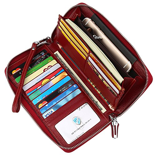 Dante Women's RFID Blocking Real Leather Zip Around Wallet Clutch Large Travel Purse Wristlet(Large Size Deep Red) by Dante
