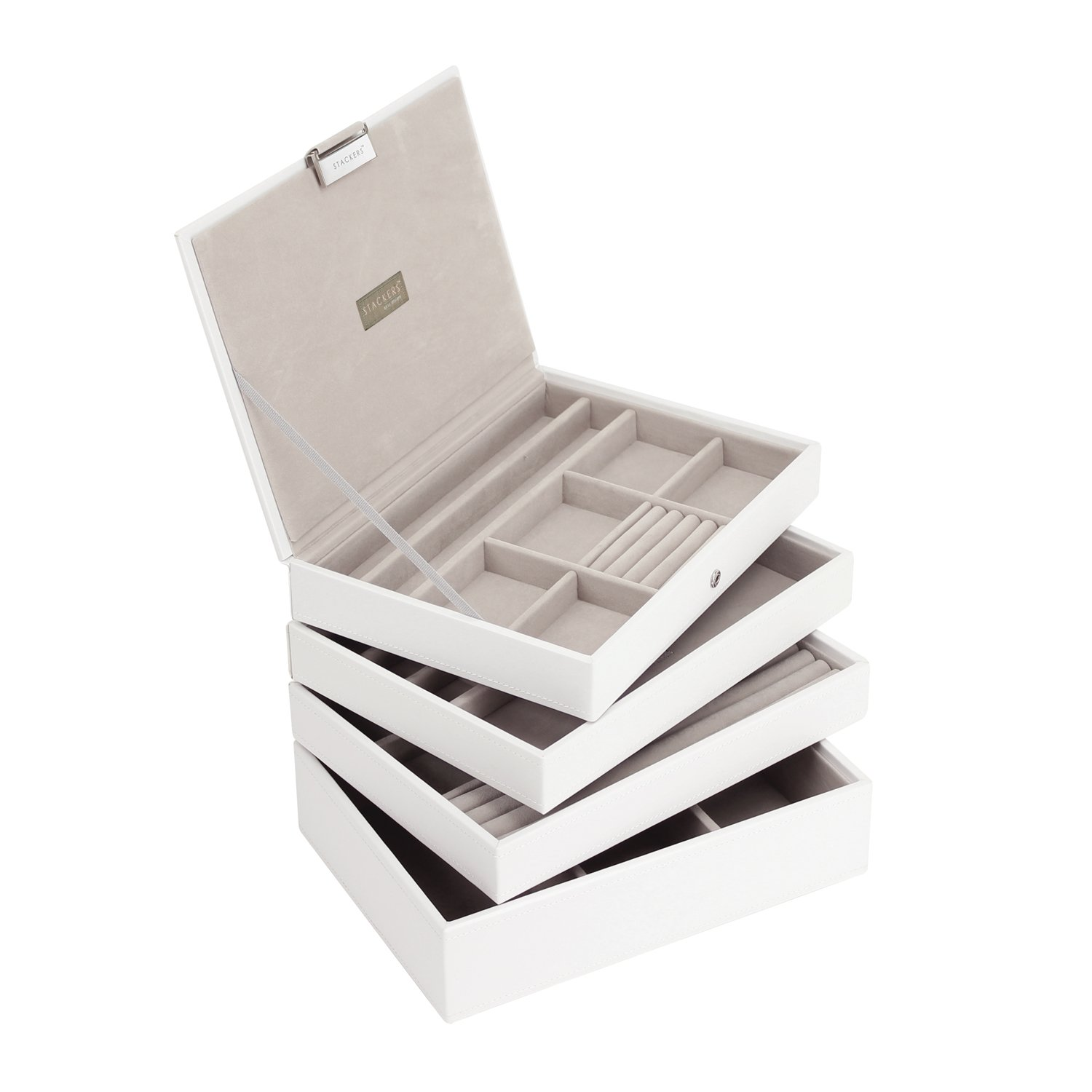 STACKERS Set of 4 'CLASSIC SIZE' - White STACKER Set of 4 Jewellery Box with Grey Velvet Finish Lining Carters of London 70785