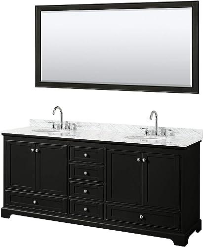 Wyndham Collection Deborah 80 Inch Double Bathroom Vanity in Dark Espresso, White Carrara Marble Countertop, Undermount Oval Sinks, and 70 Inch Mirror