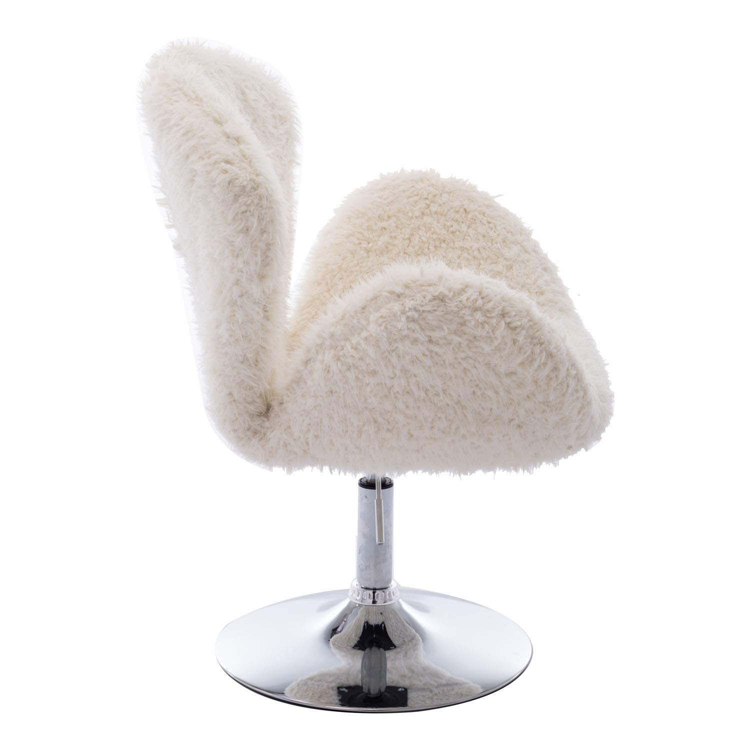Brilliant Zhenghao Faux Fur Swivel Makeup Stool Modern White Swan Chair Curly Hair Fluffy Fuzzy Accent Chair With Armrest Alphanode Cool Chair Designs And Ideas Alphanodeonline