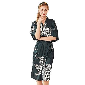 Forall-Ms Bata para Mujer, Bata De Seda Ligera para Mujeres Ropa Interior De SatéN Novia Ropa De Dormir Traje De Kimono,Green-L: Amazon.es: Hogar