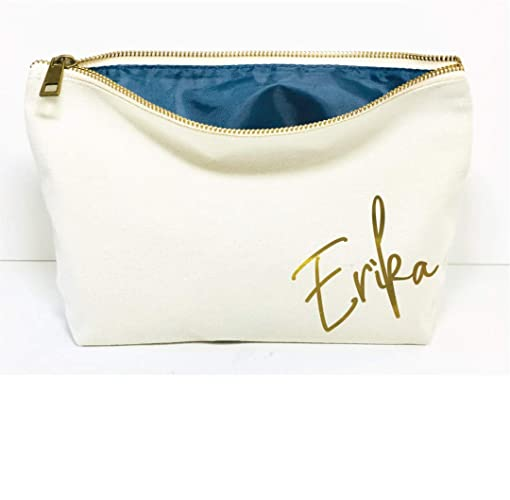 ee36f2350 Amazon.com: Personalized Cotton Canvas Monogram Makeup Bag travel cosmetic  pouch: Handmade