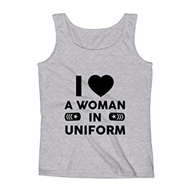 9d0f0ebfb Mad Over Shirts I Love A Woman in Uniform Unisex Premium Tank Top at Amazon  Men's Clothing store:
