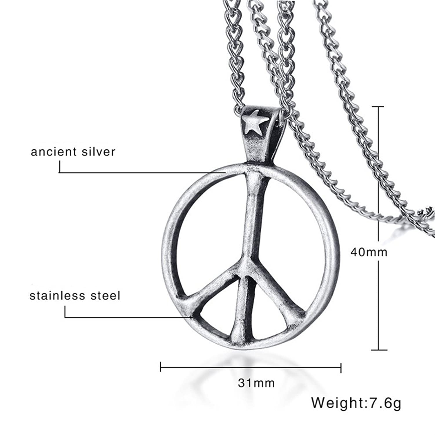 Amazon Ancient Star Stainless Steel Peace Symbol Pendant Long
