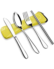 VICBAY 4 Pieces Stainless Steel Flatware Set, Knife Fork Spoon Chopsticks Set, Travel Camping Cutlery Set with Neoprene Case, Reusable Lunch Box Utensils, Portable Travel Silverware Set