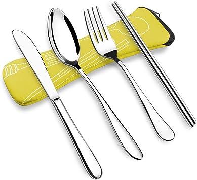 OFUN - Juego de cubiertos de camping (4 piezas, acero inoxidable, juego de cubiertos de viaje con funda de neopreno, cuchara, cuchara, palillos de palillos, juego de cubiertos de viaje portátil, caja