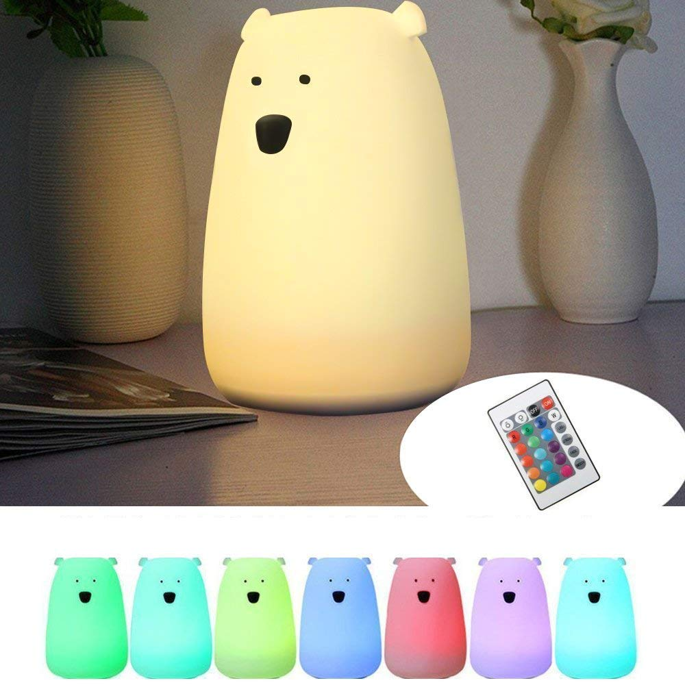 Children Night Light,GLIME Cute LED Silicone Bear Light, Kids Bedside Lamps with Remote,Warm White&7-Color Single/Changing,USB Rechargeable Fairy Light for Baby Bedroom Decorations Birthday Gifts [Energy Class A+]