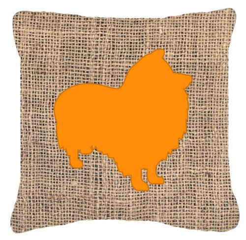 "UPC 615872544677, Caroline's Treasures BB1080-BL-OR-PW1818 Sheltie Burlap & Orange Decorative Pillow, 18"" x 18"", Multicolor"
