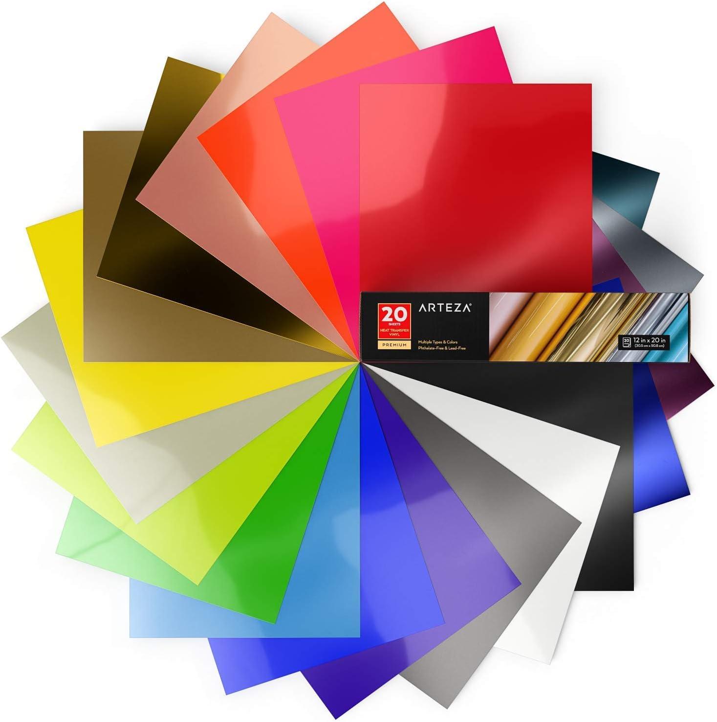 Arteza Vinilo textil termoadhesivo   30,5 x 30,8 cm   Caja de 20 hojas flexibles   Vinilo térmico resistente, fácil de pelar y sin tóxicos   Apto para cualquier máquina de corte   Colores surtidos