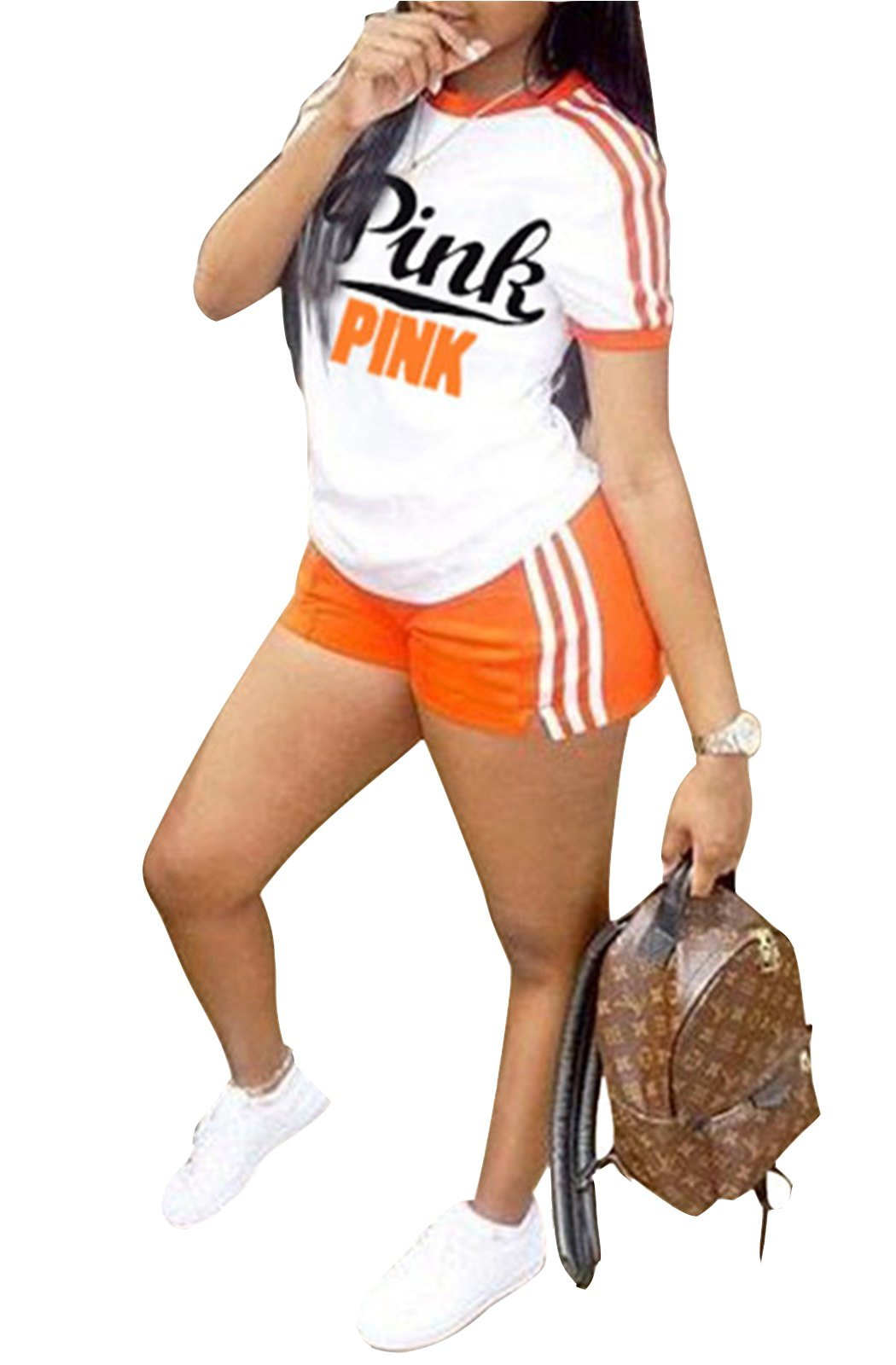 WentShopping Women Pink Letters Short Sleeve Tops and Mini Shorts Casual Short Pantsuits (Medium, Orange)