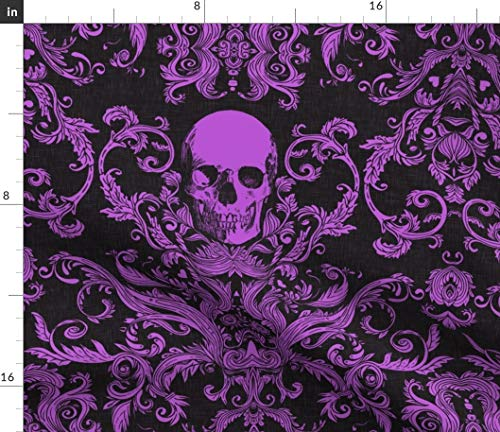 Macabre Fabric - Skull Halloween Purple Black Halloween Fabric Spooky by Willowlanetextiles Printed on Satin Fabric by The Yard]()