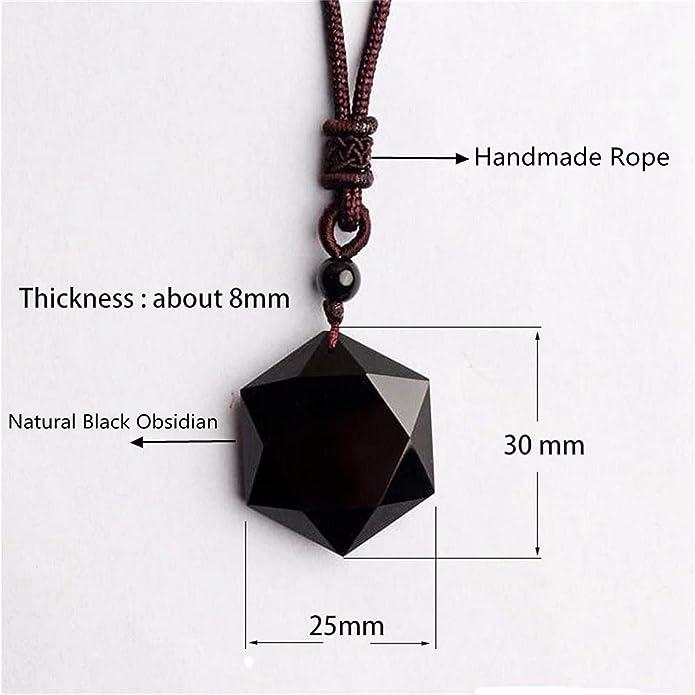 Black Jewelry Blessing Men Amulet Necklace Hexagram Shape Obsidian Pendant