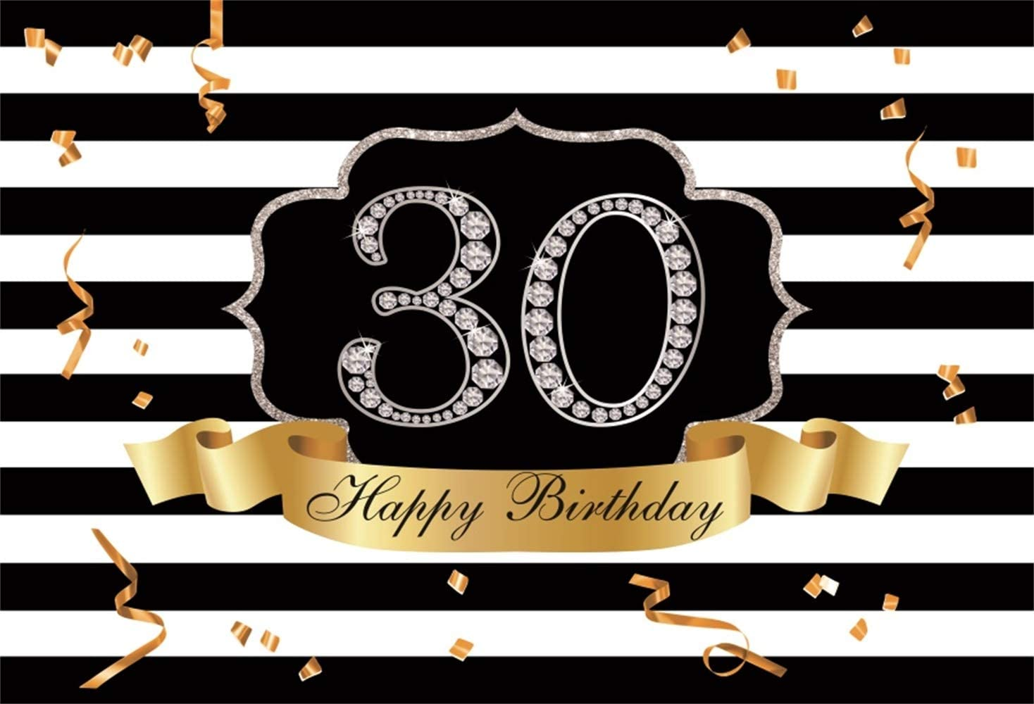 YongFoto 8x6ft Birthday Backdrop Happy 30th Birthday Diamonds Champagne High Heel Photography Background Party Theme Cake Table Banner Decoration Portrait Photo Studio Wall Vinyl Poster