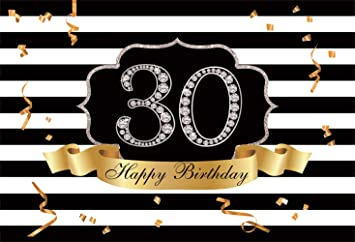 Luxurious 30th Anniversary Celebration 8x6.5ft Polyester Photography Background Golden Royal Crown Ribbon Bokeh Haloes Black Backdrop 30th Birthday Party Banner Wedding Anniversary Shoot