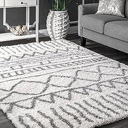 "nuLOOM Soft and Plush Geometric Drawings Shag Area Rugs, 5' 3"" x 7' 6"", Grey"