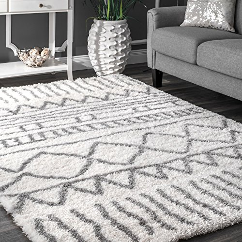 nuLOOM Soft and Plush Geometric Drawings Shag Area Rugs, 4' x 6', Grey