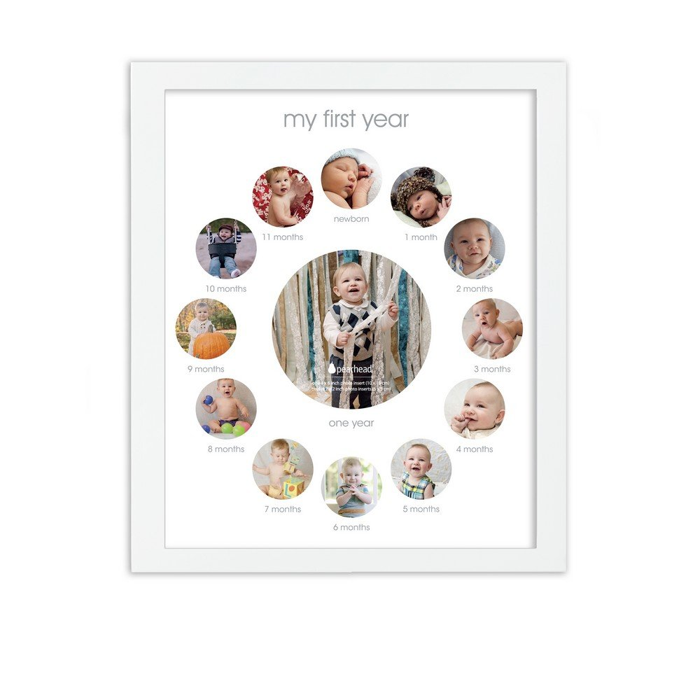 Pearhead My First Year Monthly Photo Baby Keepsake Frame, White 81018