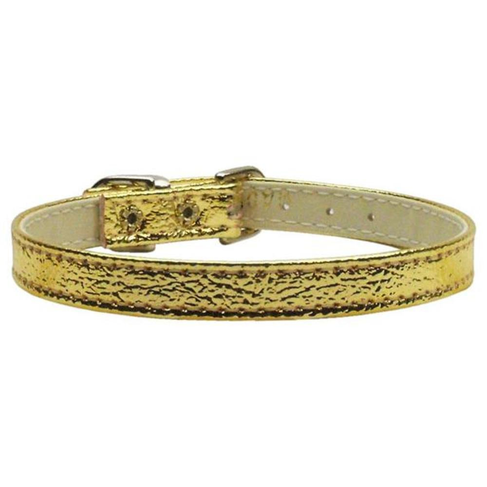 Dog   Cat   Pet Charms Metallic 3 8  Plain Collars gold 16''