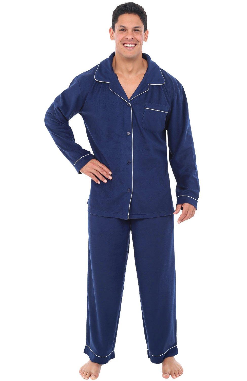 Alexander Del Rossa Mens Fleece Pajamas, Long Button-Down Pj Set, Small Midnight Blue (A0327MBLSM) by Alexander Del Rossa