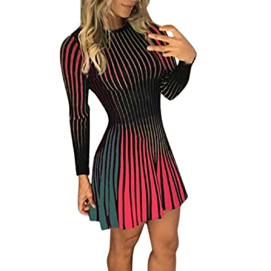 e713300b1af OTINICE Spring Women Long Sleeve Multicolor Stripe Bodycon Evening Party  Club Mini Dress Red