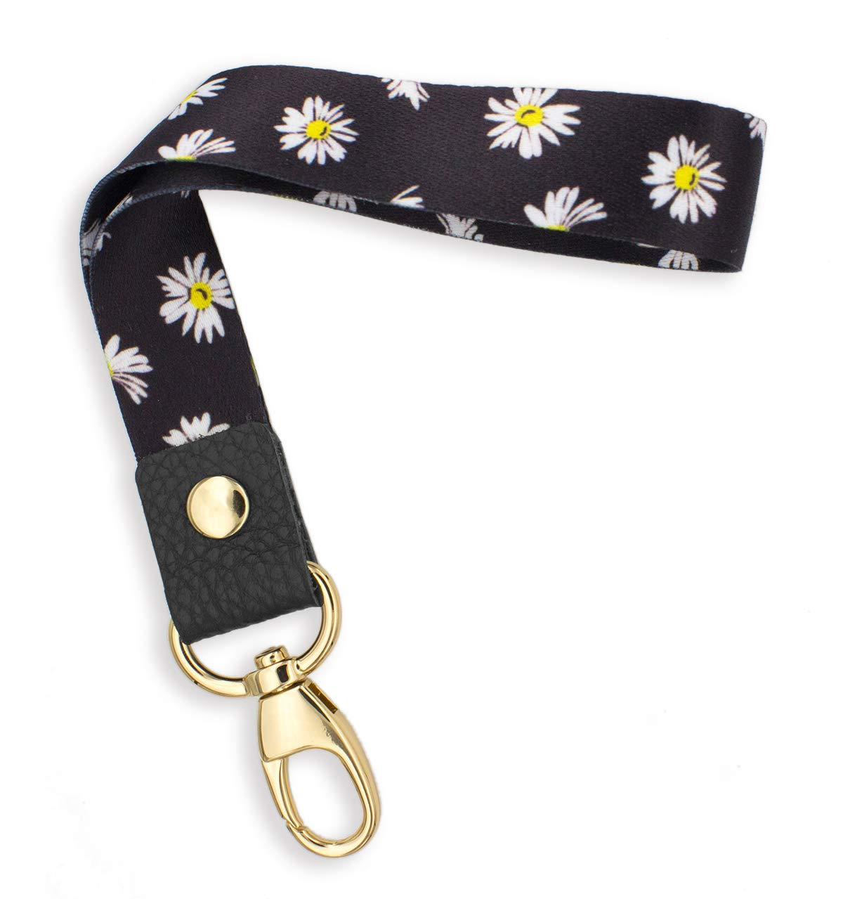 SENLLY Daisies Hand Wrist Lanyard Premium Quality Wristlet Strap with Metal Clasp and Genuine Leather, for Key Chain, Camera, Cell Mobile Phone, Charms, Lightweight Items etc