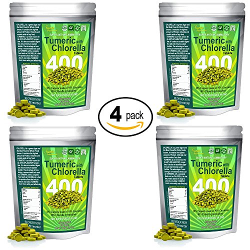 Sunlit Chlorella w/ Turmeric Tablets. Superfood supplement combines Organic raw non-GMO Chlorella Pyrensoidosa with Turmeric root (95% Concentrated Curcumin). No fillers no preservatives. (4 Pack) by Sunlit Best Green Organics