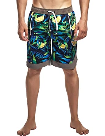 3942d34e739 Tyhengta Mens Swim Trunks Quick Dry Board Shorts Bathing Suits with Mesh  Lining Green US(