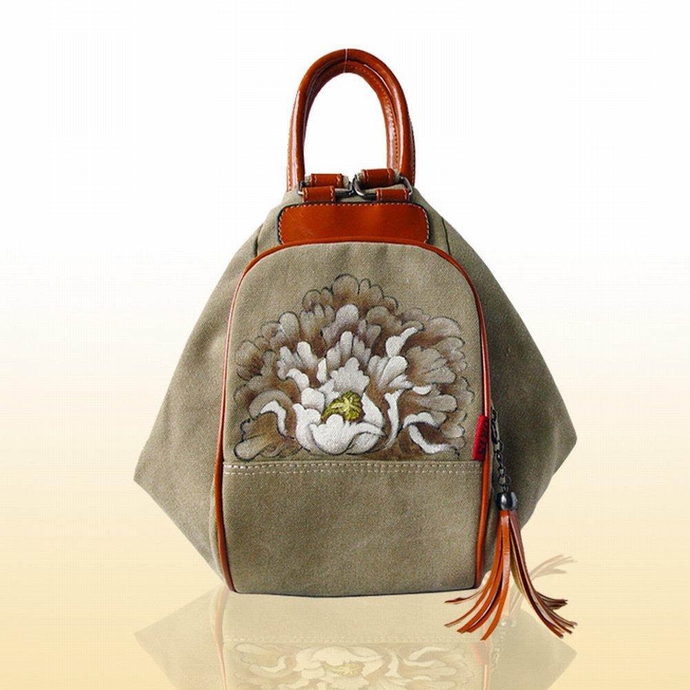 Reißverschluss-Segeltuch-Beutelhandtaschen-Handtaschenhandtasche , Khaki & Pfingstrose