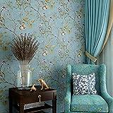 Blooming Wall Vintage Flower Trees Birds Wallpaper for Livingroom Bedroom Kitchen,57 Square Ft,(Vintage Blue)