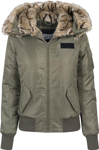 Urban Classics Damen Winterjacke Faux Fur Parka Basic Winter Jacke Fell Kapuze