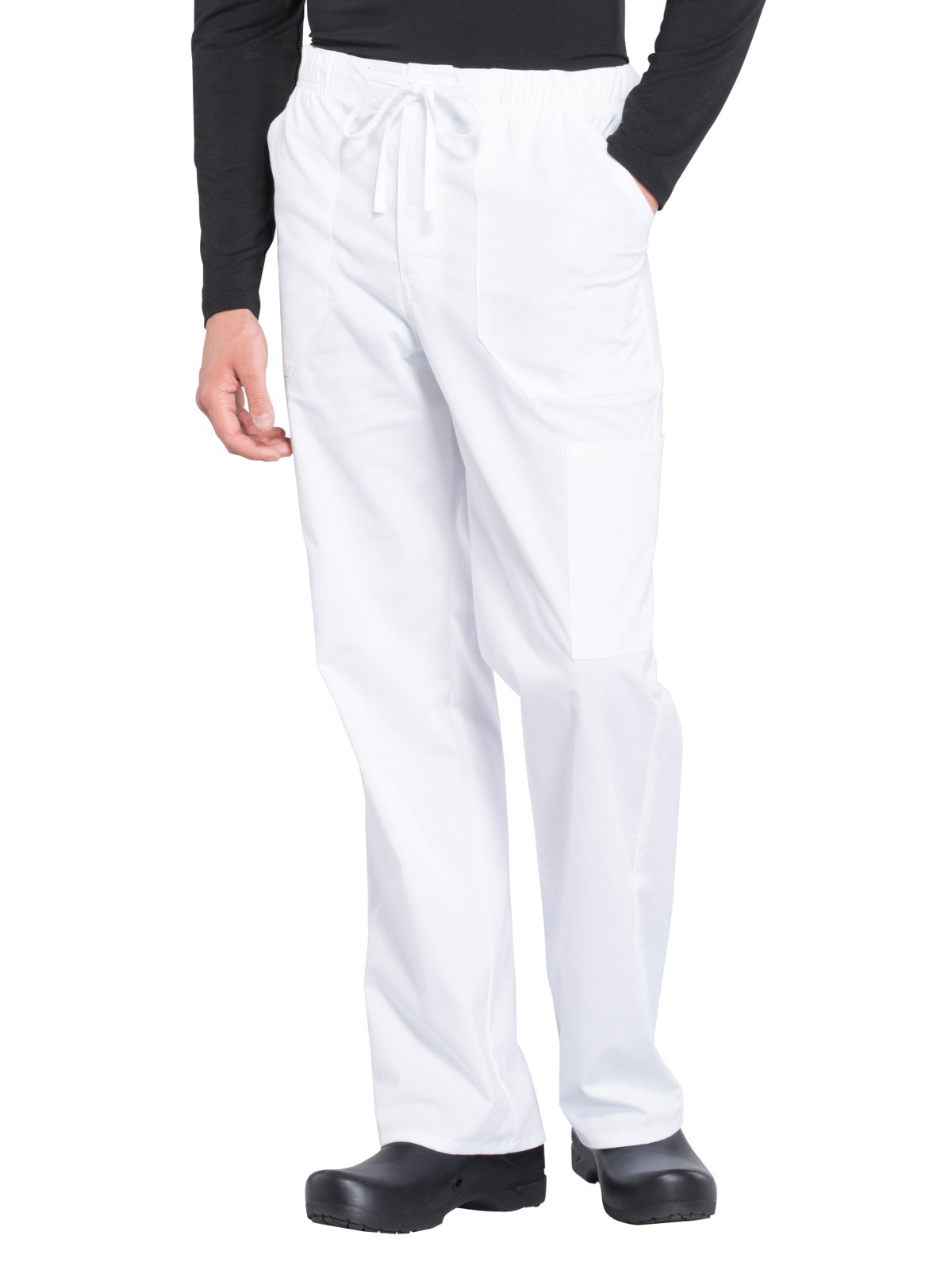 Cherokee Professionals Workwear Men's Tapered Leg Zip Fly Drawstring Scrub Pant Medium Tall White
