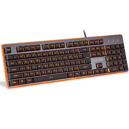 Guanwen Teclado de Juegos con sensación mecánica, Naranja con Cable Respaldo Retroiluminación Multimedia Teclado ergonómico