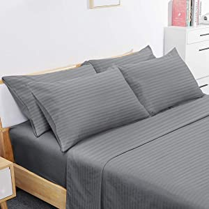 BYSURE 4 Piece Hotel Luxury Bed Sheets Set - Ultra Soft 1800 Thread Count Double Brushed Microfiber, Deep Pockets, Wrinkle & Fade Resistant Cooling Bed Sheets (Twin, Striped Gray)