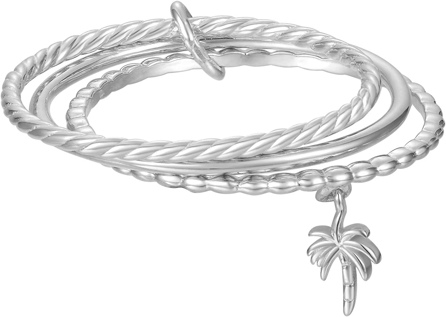 Blossom & Hue Sterling Silver Dainty Tree Charm Triple Rings