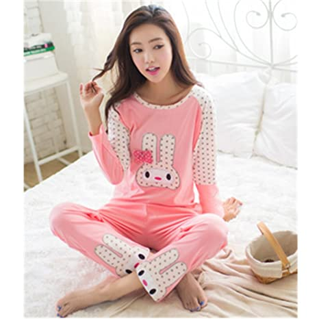 a77fcd016798 Image Unavailable. Image not available for. Color  KAKA(TM Women s Fashion  Cartoon Star Rabbit Pure Cotton Pyjamas Homewear Sleepwear Set Long Sleeve