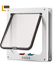 """M-Aimee Large Cat Door (Outer Size 9.9"""" x 9.2"""") with 4 Way Locking, Waterproof Cat Flap Door, White Pet Door Kit for Kitten & Small Dog with Circumference Shorter Than 23"""""""