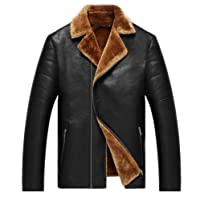 JIAX Men's Winter Warm Sheep Skin Leather Coat Jacket Lamb Wool Lined Outerwear