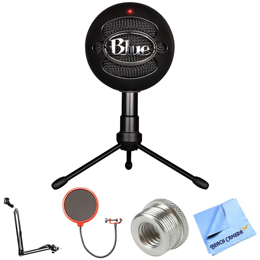 Blue Microphones Snowball iCE Versatile USB Microphone - Black (SNOWBALL iCE Black) + Suspension Boom Scissor Arm Stand + Pop Filter Microphone Wind Screen + Mic Stand Adapter + MicroFiber Cloth