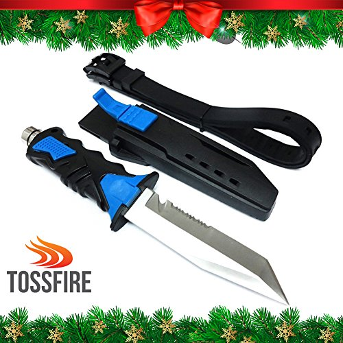 Black Diver Knife (CHRISTMAS GIFT Zip Diving Knife | Sharp Stainless Steel 440 C HRC Hardness Tactical Scuba Ocean Dual Edge Diving Knife with Straps | Rubber Handle ABS Plastic Lock Sheath Blue Black | 1010)