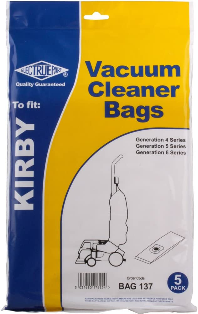 TheChemicalHut BAG137 Kirby Compatible Vacuum Cleaner Hoover Bags. Fits All Generation G4 G5 G6 Models. Pack of 5. Cleaning Accessories Powered, Beige