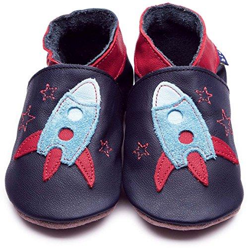 Inch Blue Jungen Schuhe für den Kinderwagen aus luxuriösem Leder - Weiche Sohle - Rakete Dunkelblau & Türkis