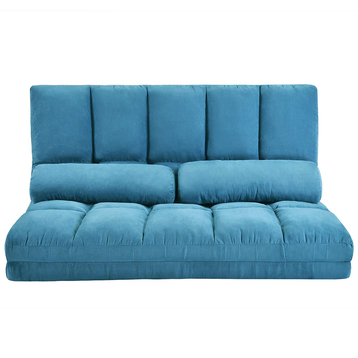 Adjustable Floor Couch and Sofa for Living Room and Bedroom, Foldable 5 Reclining Position with 2 Pillows, Love seat, Blue by Harper & Bright Designs