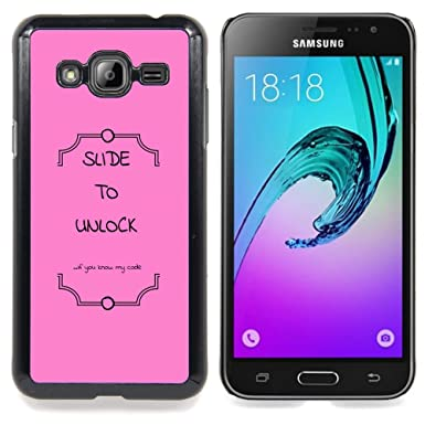 FOR Samsung Galaxy J3 Queen Pattern - Pink Text Slide To Unlock