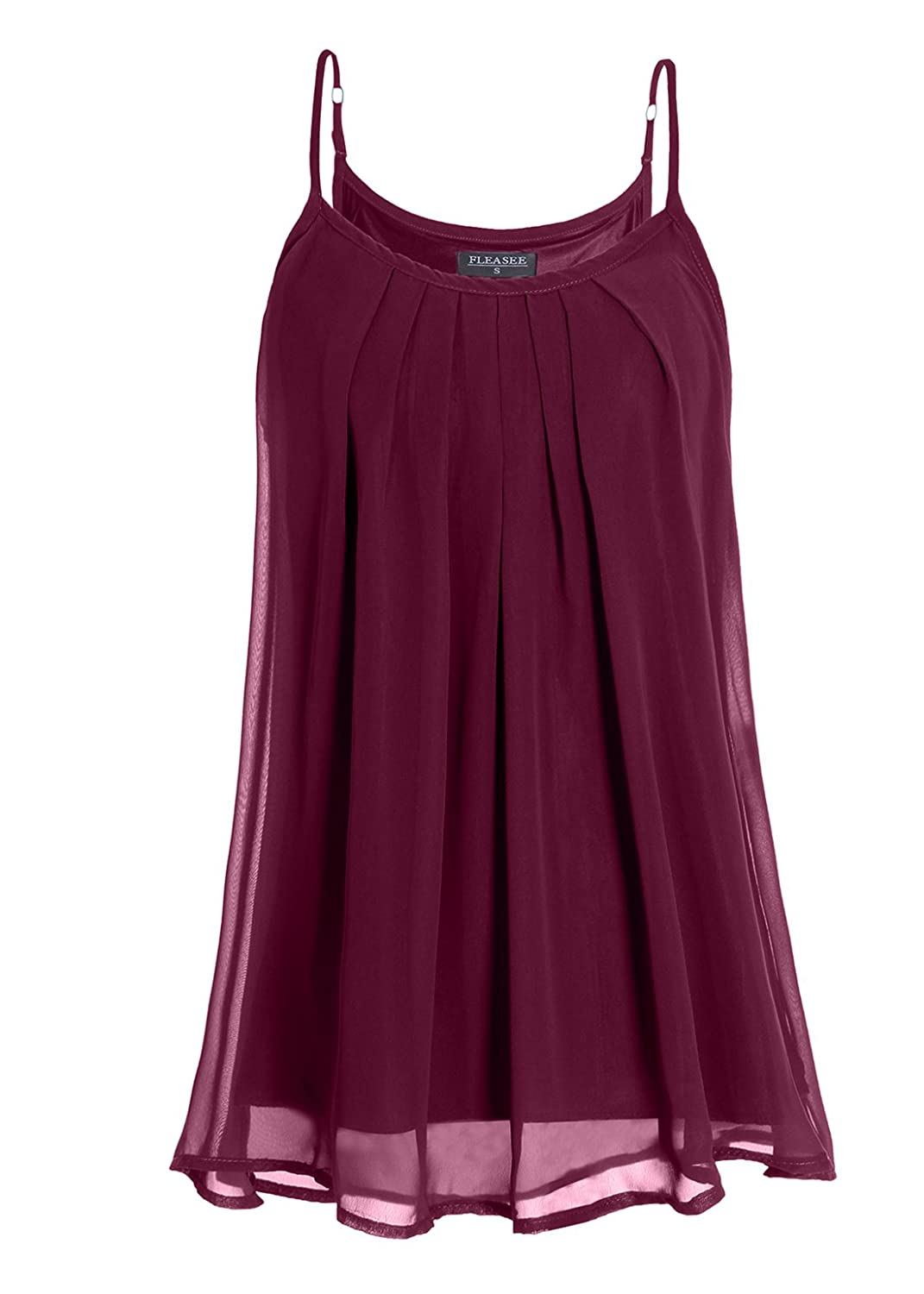 Fleasee Women's Summer Cool Casual Sleeveless Vest Tops Pleated Layered Chiffon Camisoles Tank Top Flea7126