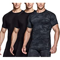 TSLA 1, 2 or 3 Pack Men's Cool Dry Short Sleeve Compression Shirts, Athletic Workout Shirt, Active Sports Base Layer T-Shirts
